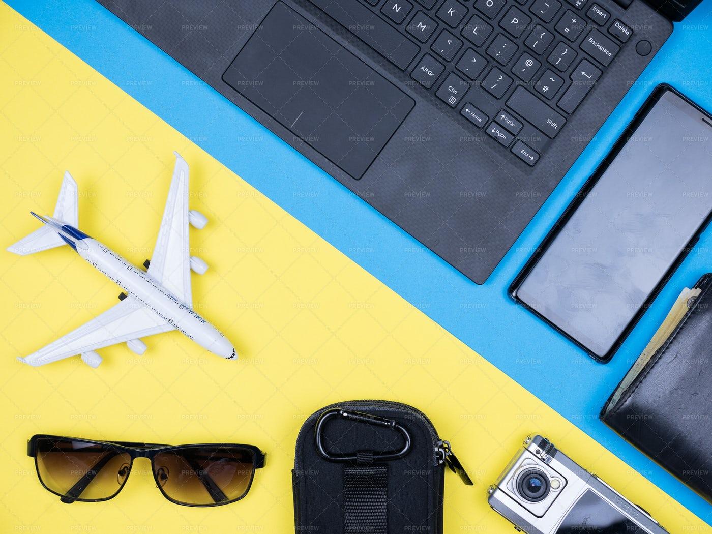 Flat Lay Of Traveler Accesories: Stock Photos