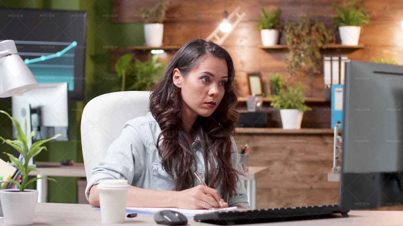 Taking Notes From Computer: Stock Photos