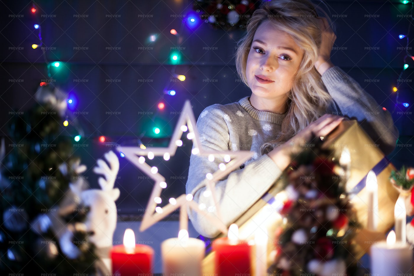 Girl Having A Warm Christmas Night: Stock Photos