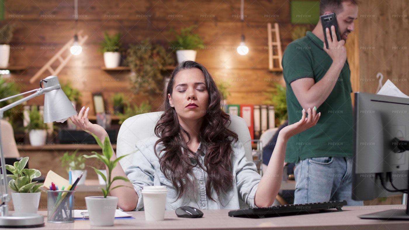 Meditating In Office: Stock Photos
