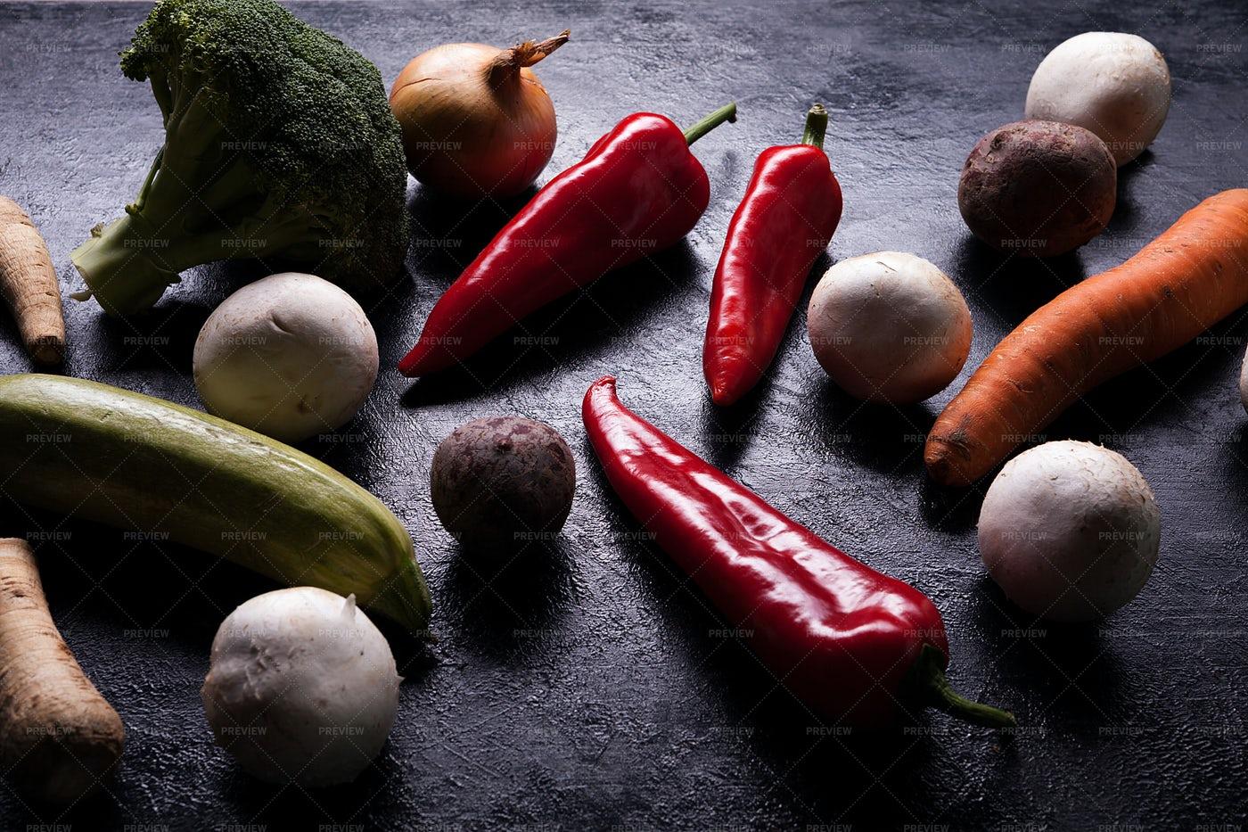 Vegetables On A Dark Board: Stock Photos