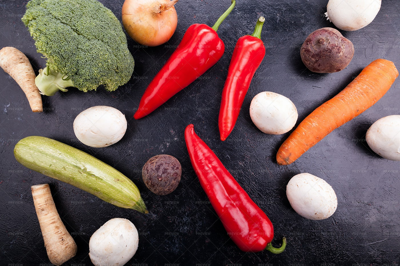 Top View Of Vegetables On A Board: Stock Photos