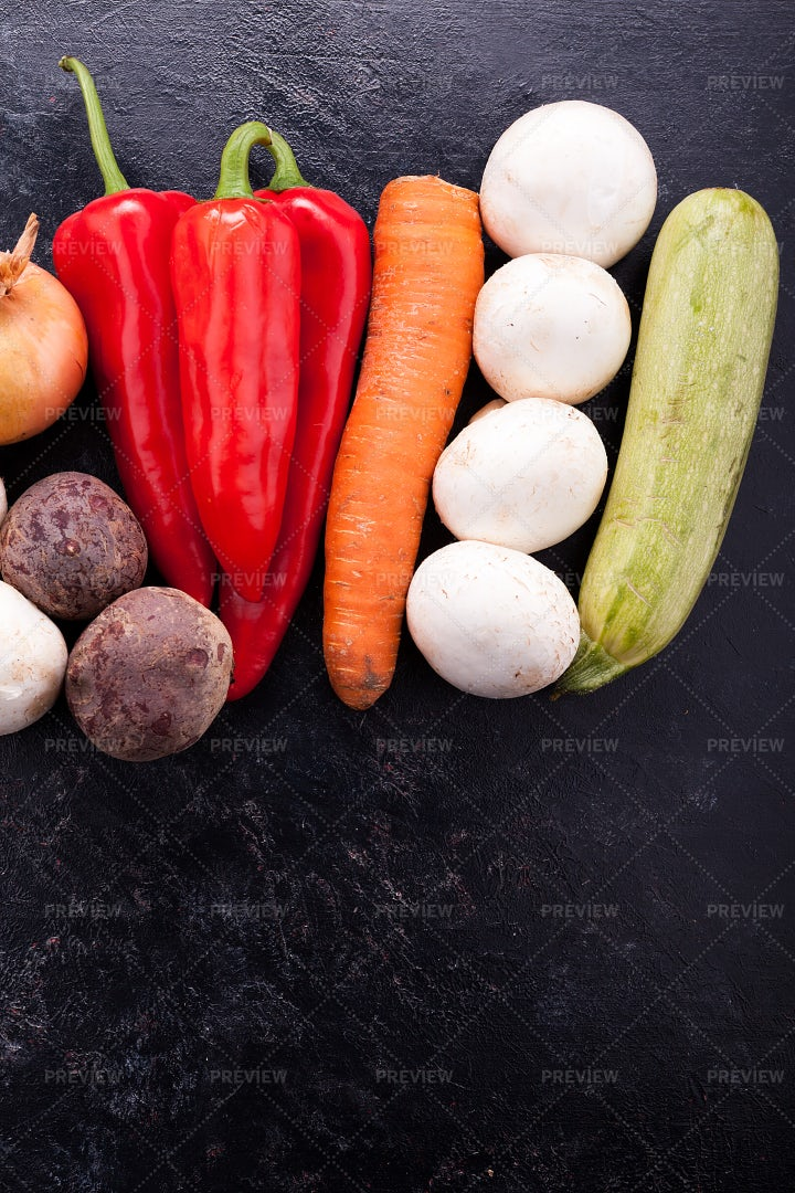 Vegetables Lying On A Wooden Table: Stock Photos
