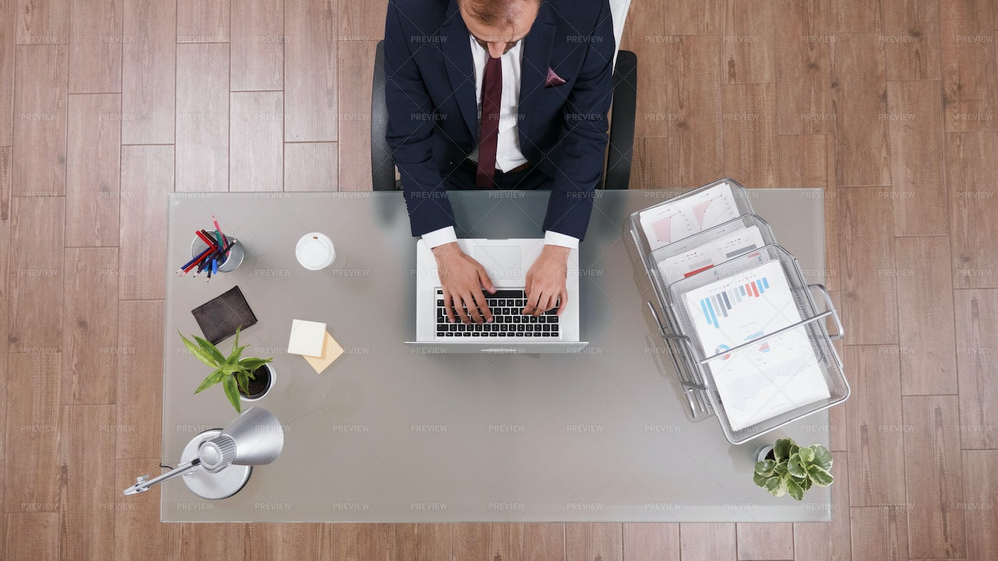 Top View Of Businessman Typing: Stock Photos