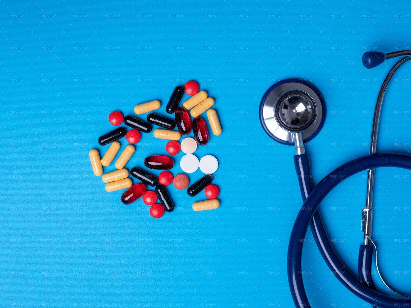 Stethoscope And Pills: Stock Photos