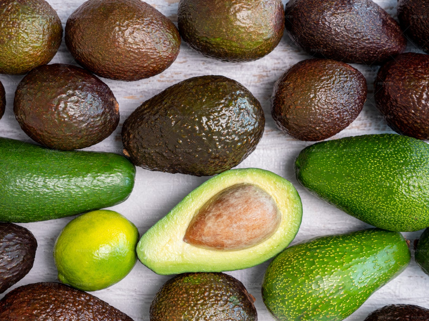 Ripped And Green Avocados: Stock Photos