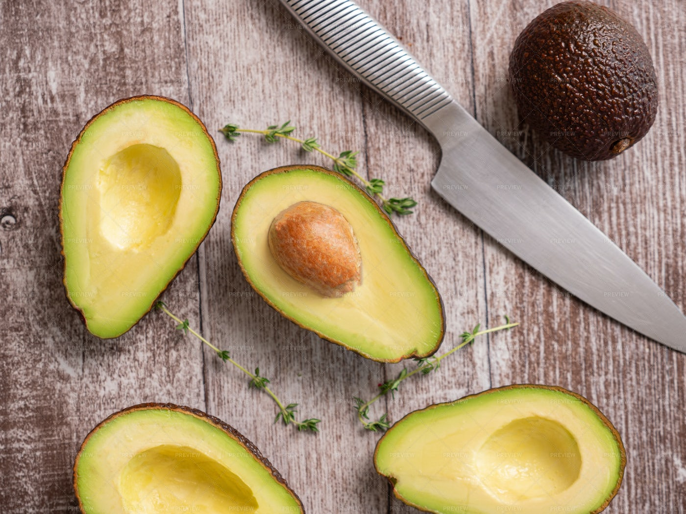 Top View Fresh Cutted Avocado: Stock Photos