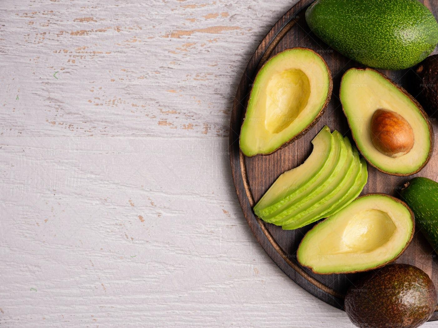 Top View Of Fresh Cut Avocado: Stock Photos
