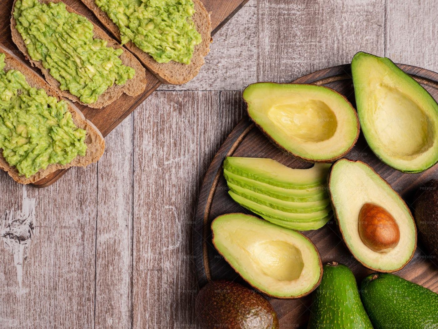 Avocado On Bread: Stock Photos