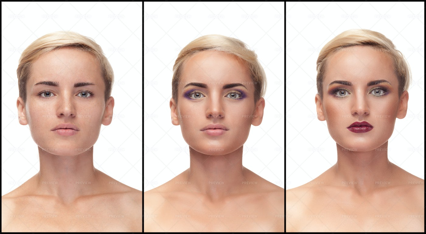 Make Up Process From Start To Finish: Stock Photos