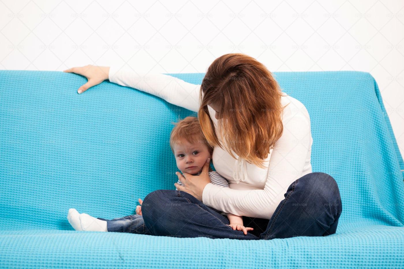 Mother Checking On Toddler: Stock Photos