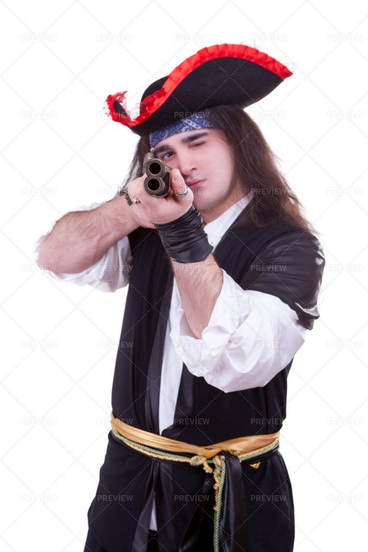 Pirate Aiming Gun: Stock Photos