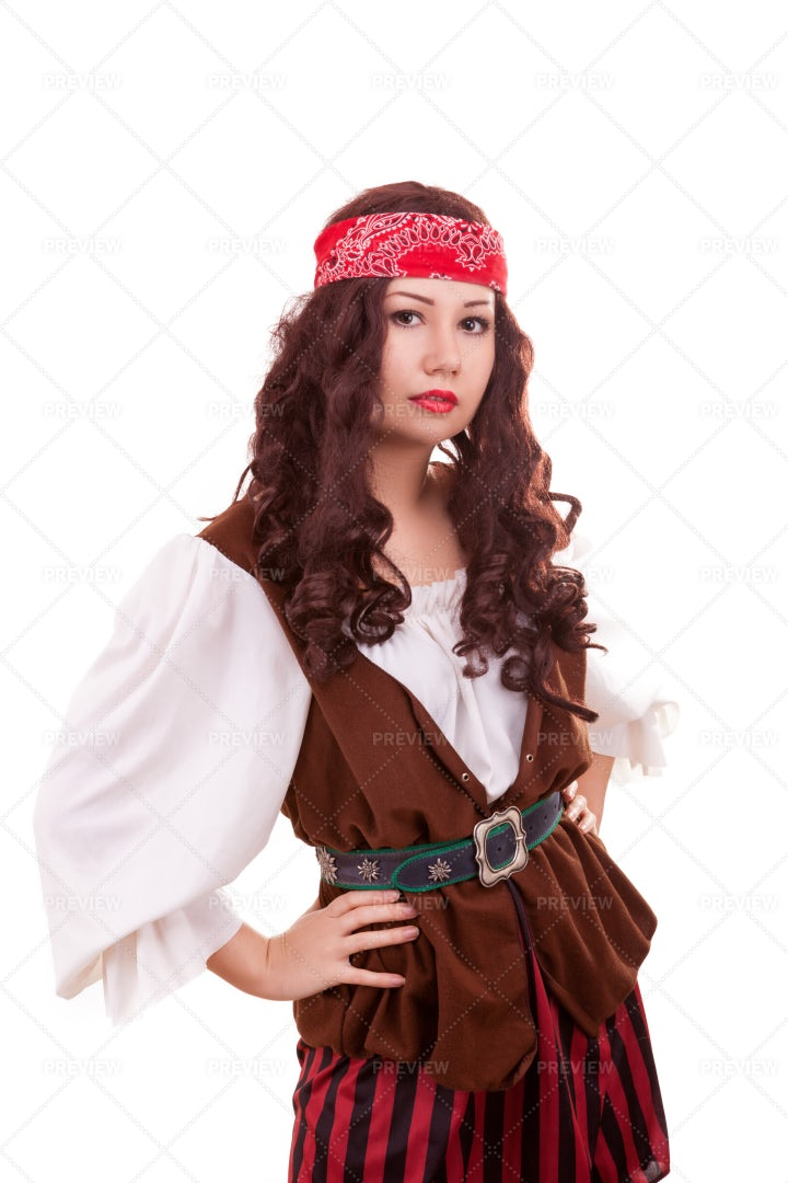 Woman In Pirate Costume: Stock Photos
