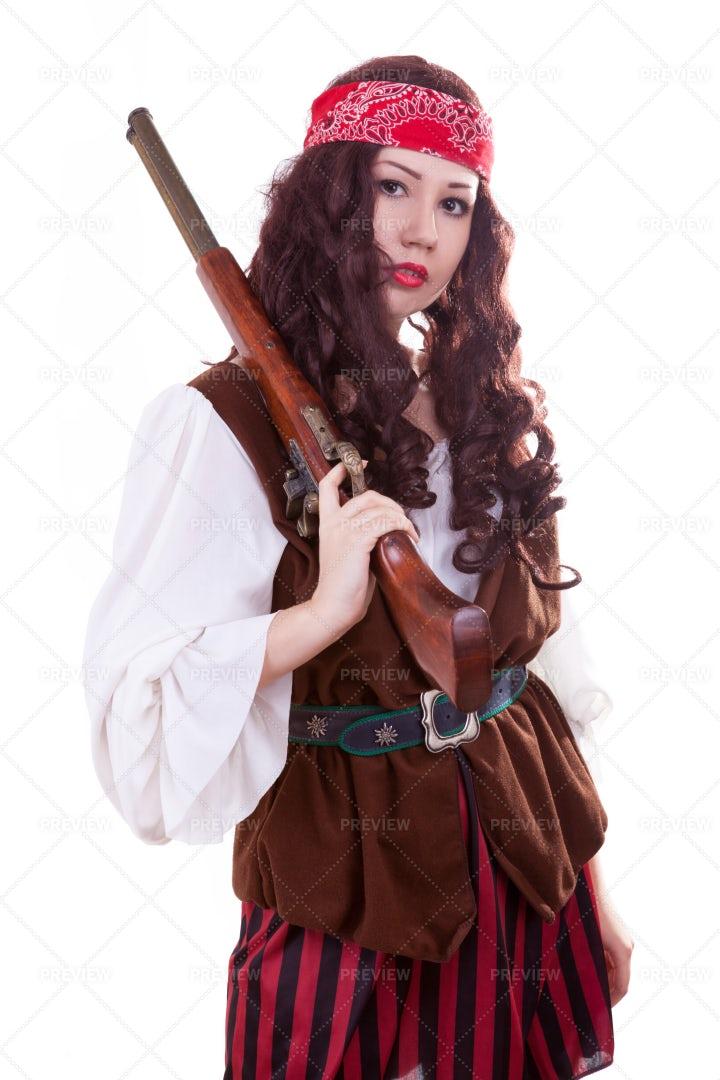 Pirate Gilr With Gun: Stock Photos