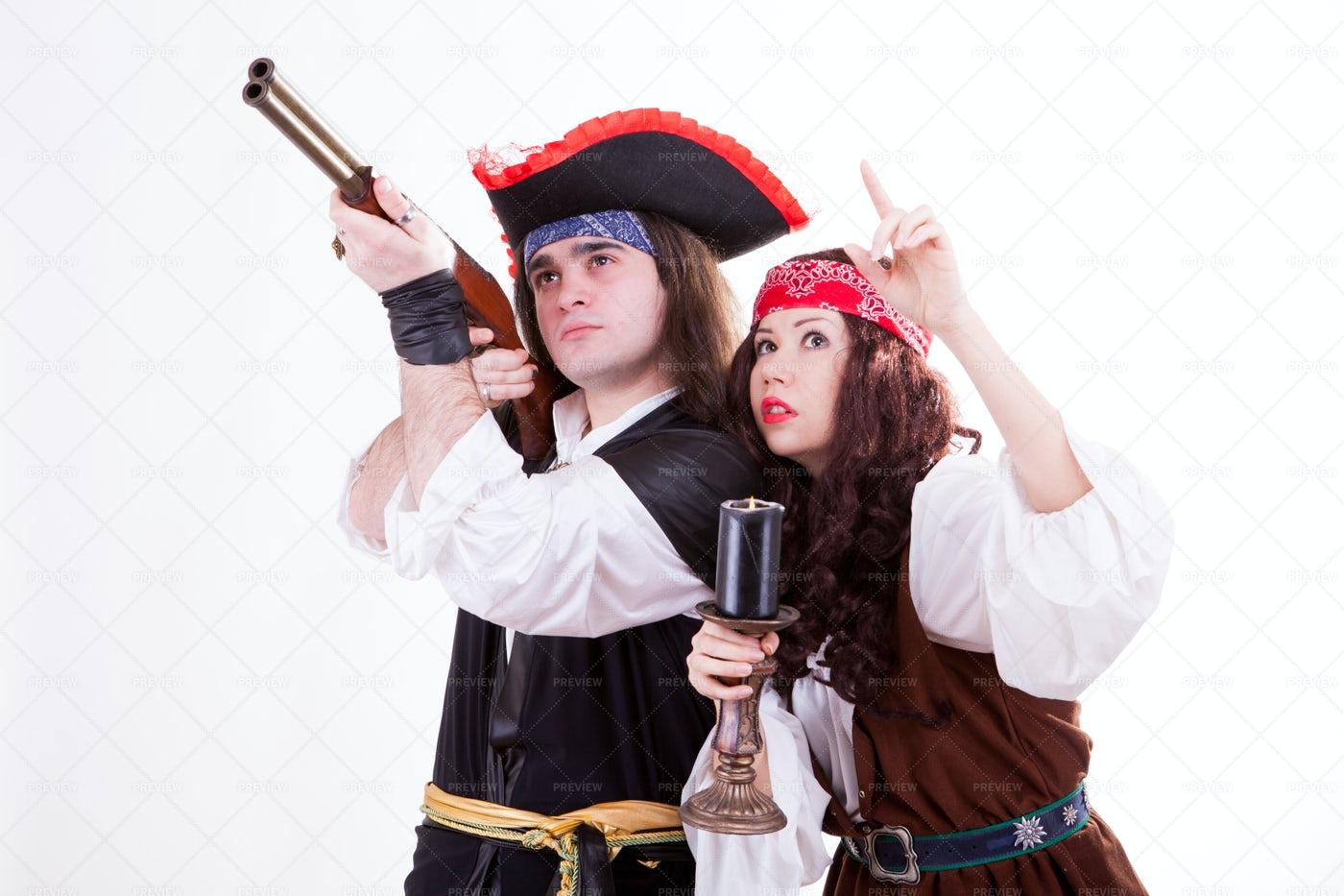Two Pirates Prepared To Attack: Stock Photos