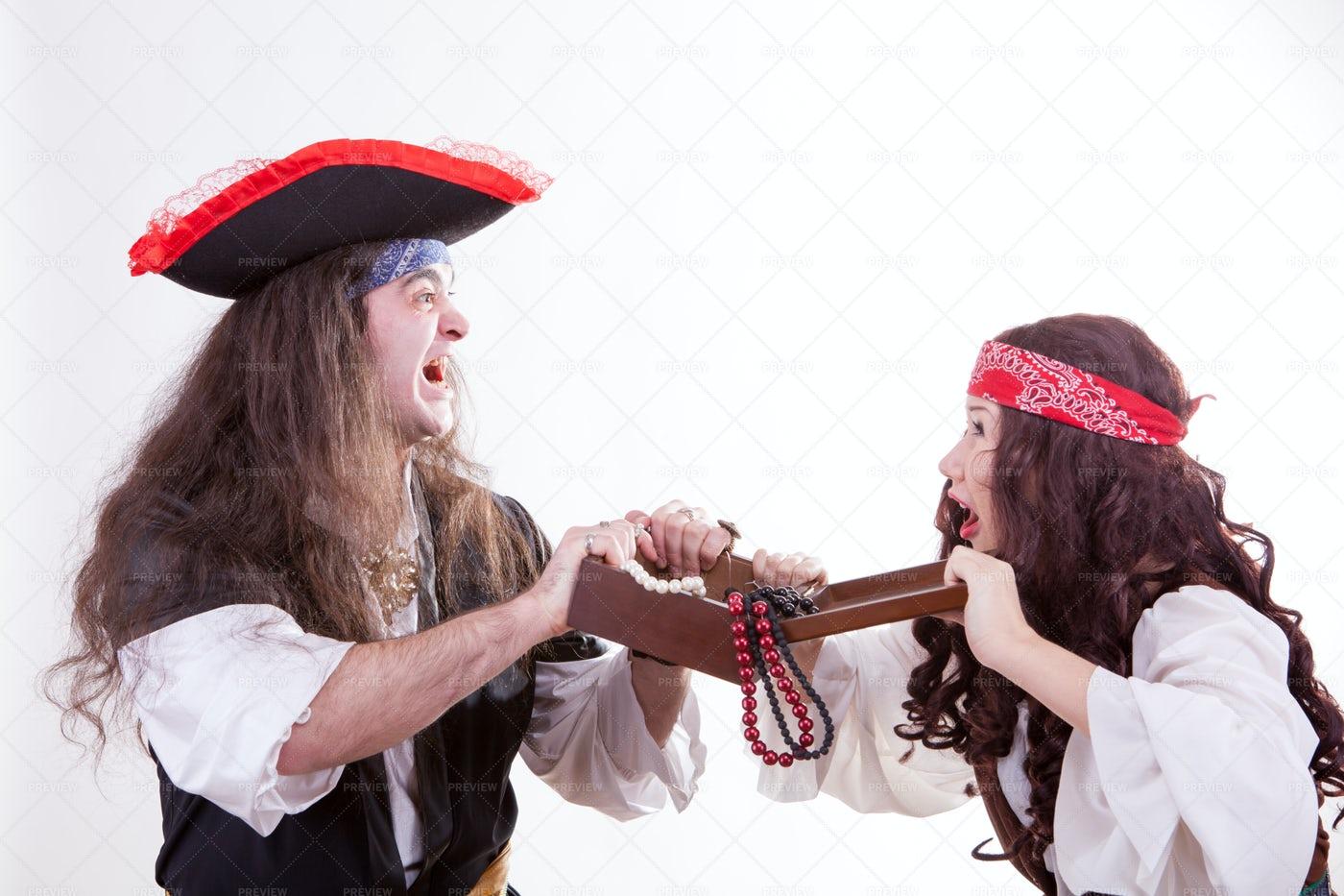 Greedy Pirates Fight: Stock Photos