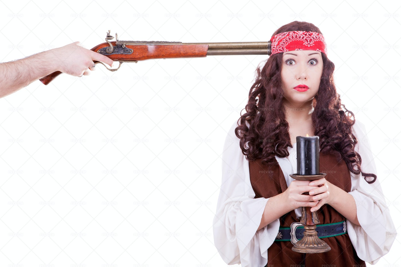 Pirate With Musket At Head: Stock Photos