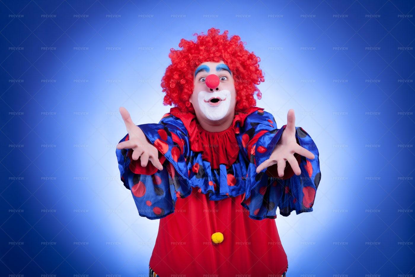 Clown Reaching Forward: Stock Photos