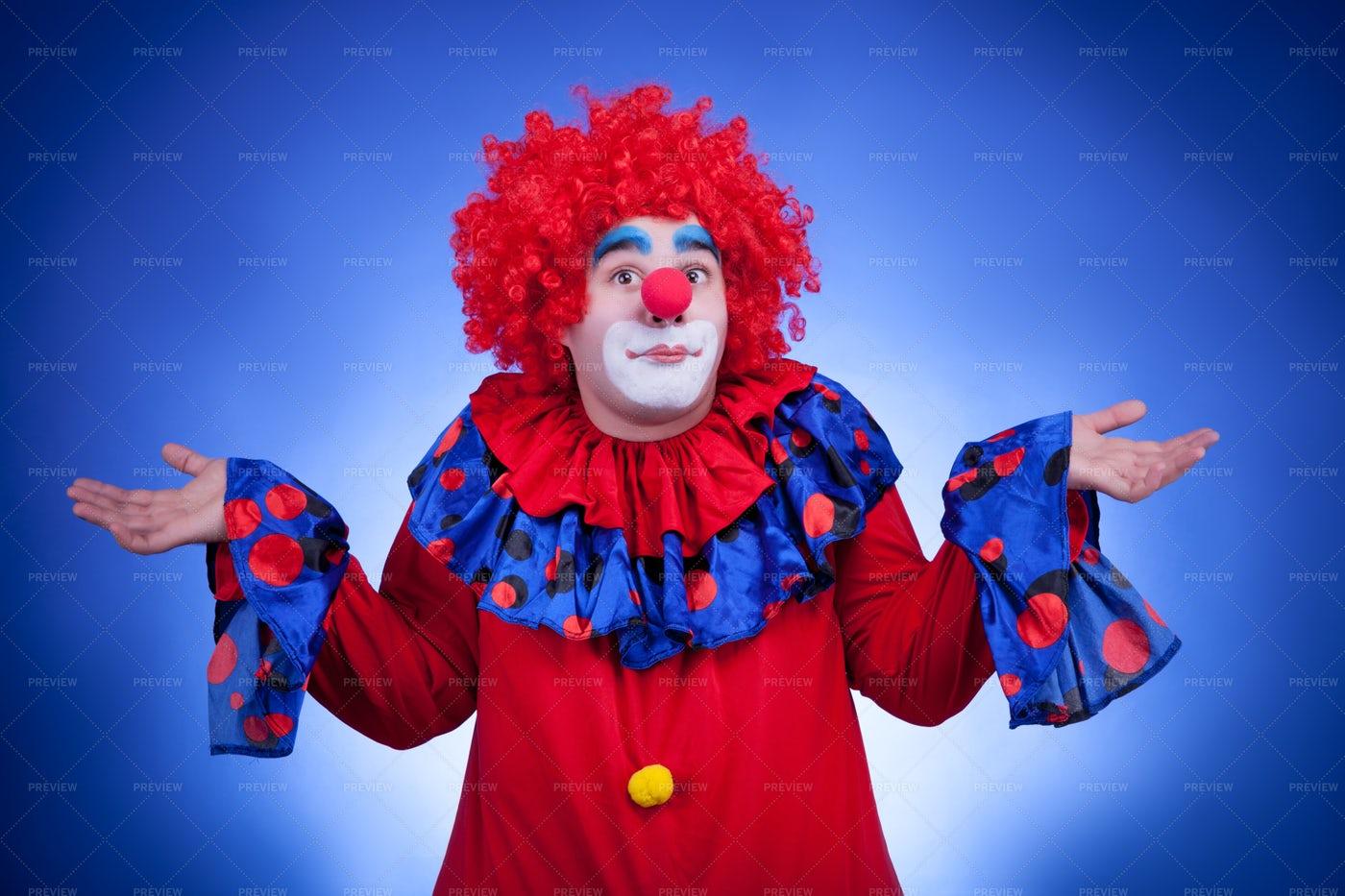 Dumbfounded Clown: Stock Photos