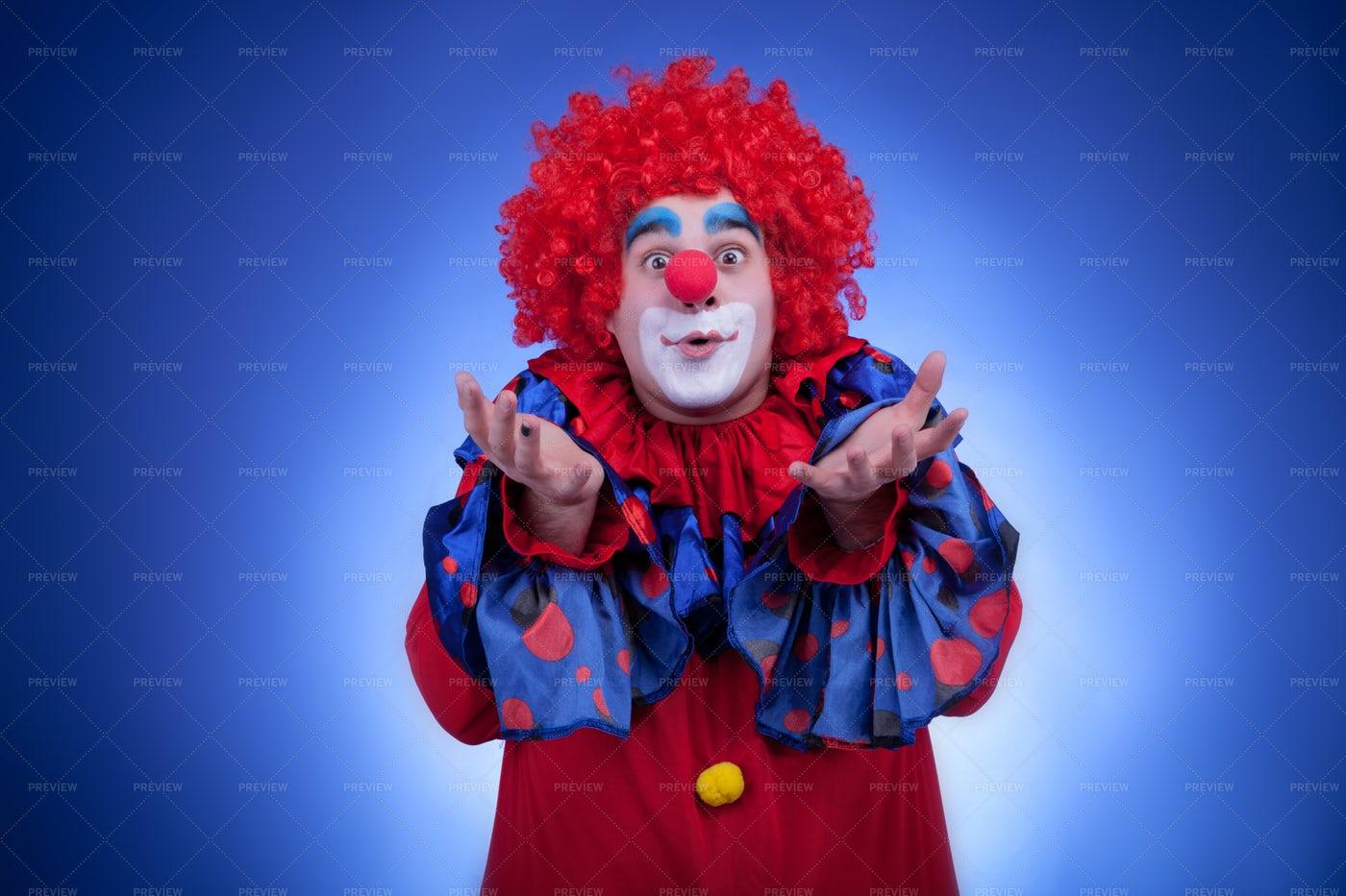 Clown Reach Out Both Hands: Stock Photos