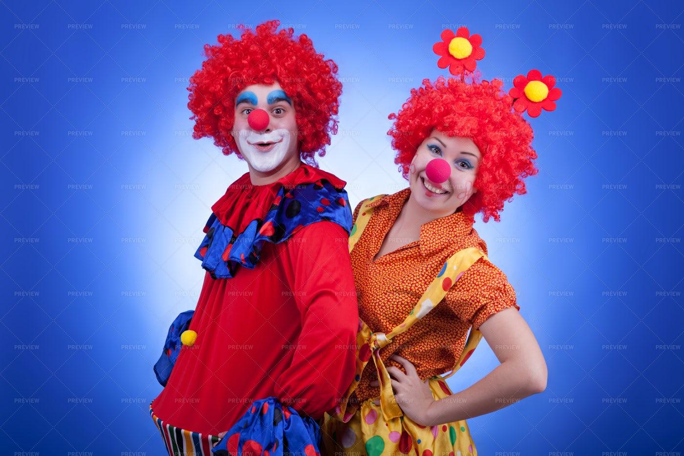 Pair Of Clowns: Stock Photos