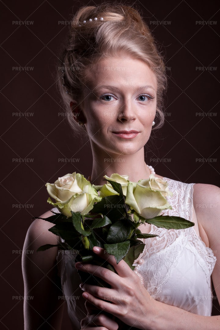 Portrait Of A Woman In Victorian Style: Stock Photos