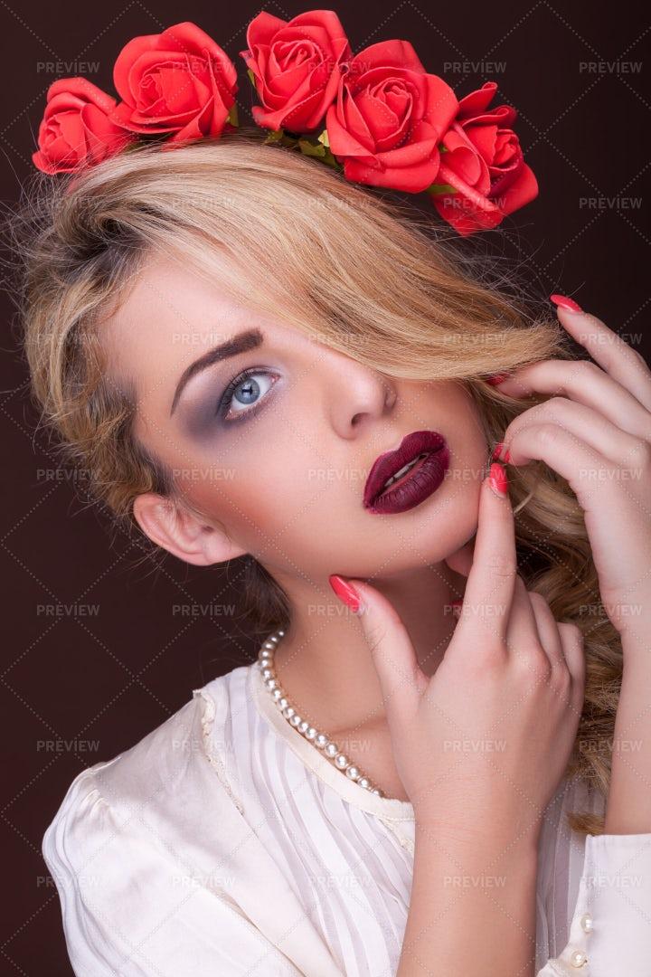 Sensual Woman Professional Make Up On: Stock Photos