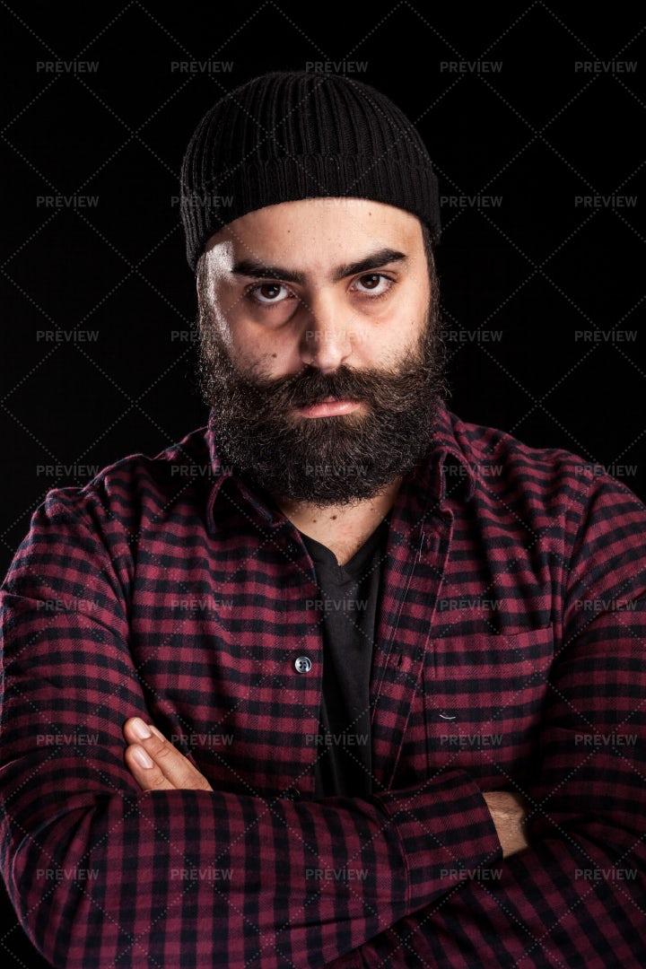 Long Bearded Man Wearing A Hat: Stock Photos