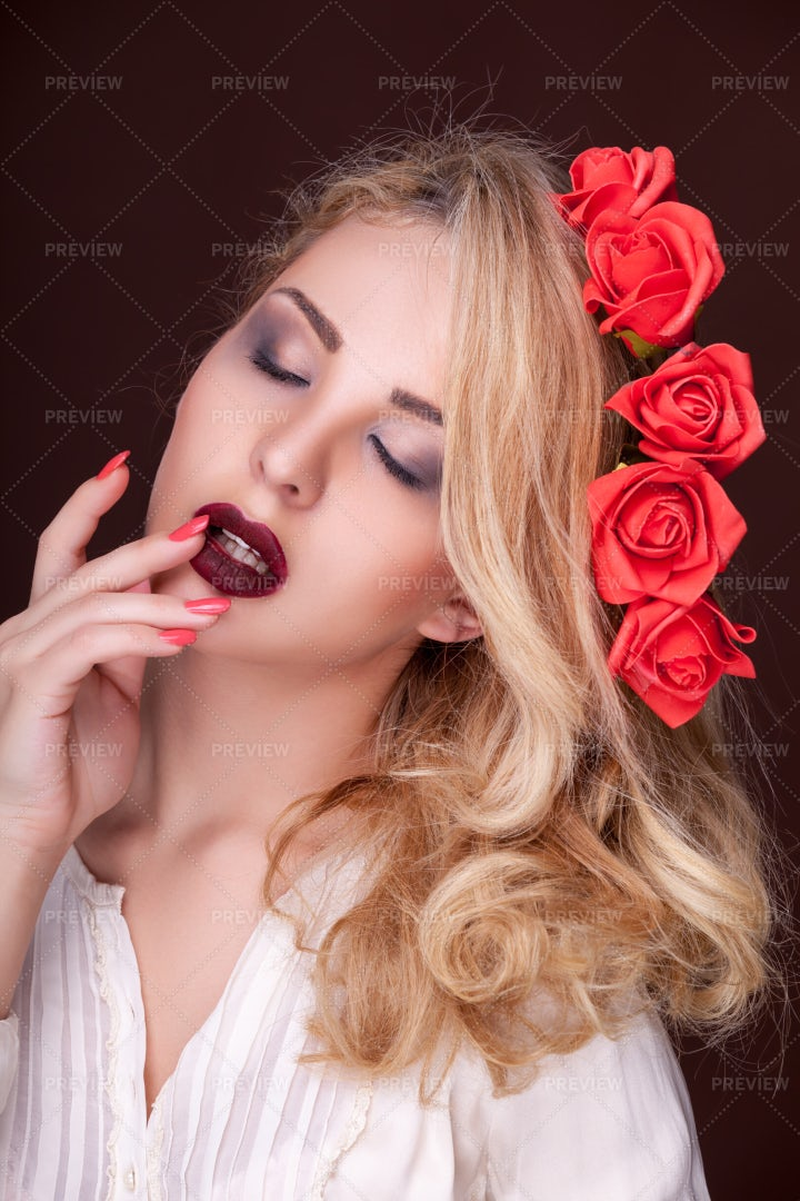 Sexy Woman With Flowers: Stock Photos