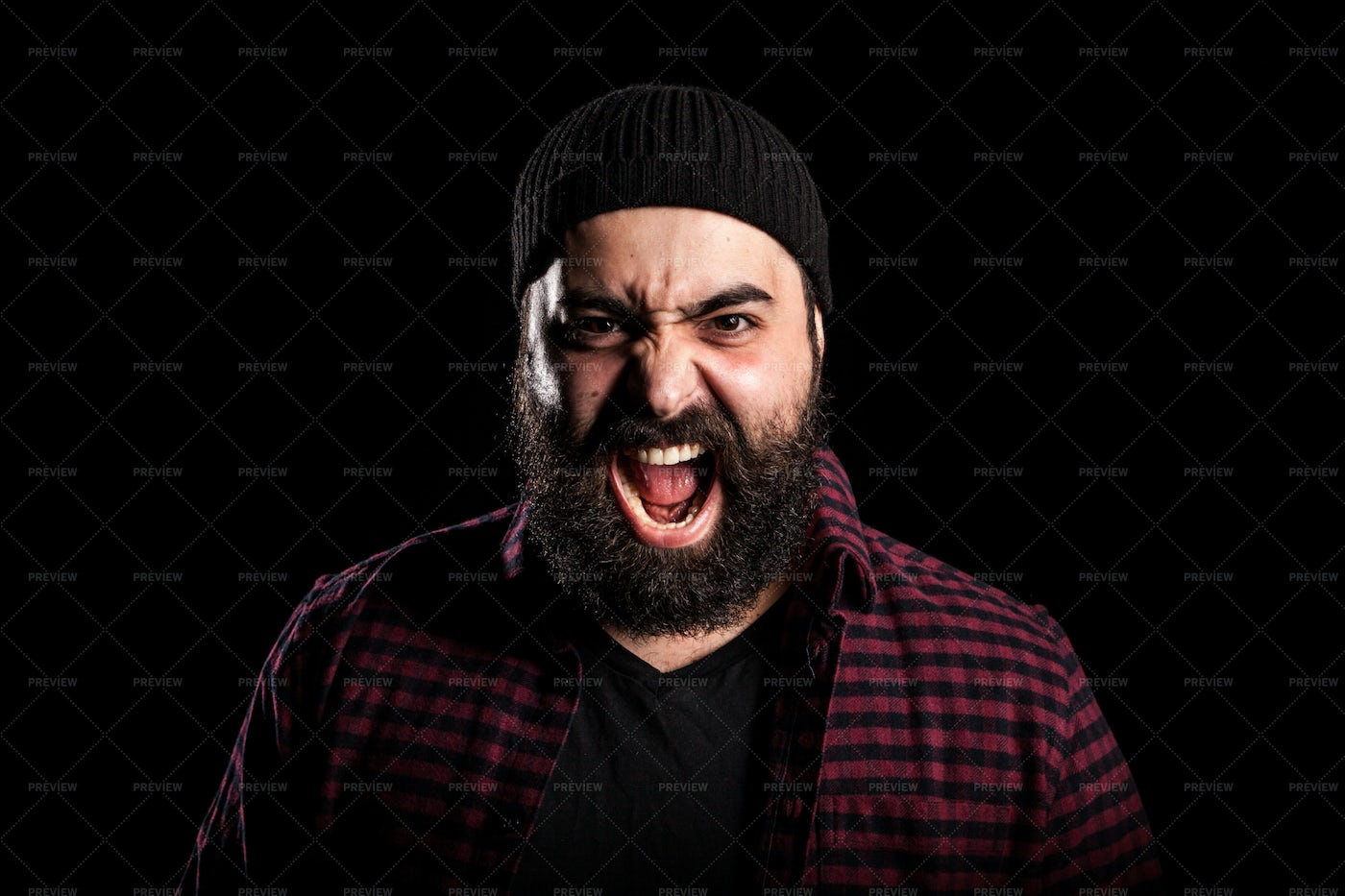 Bearded Man Screaming In Anger: Stock Photos