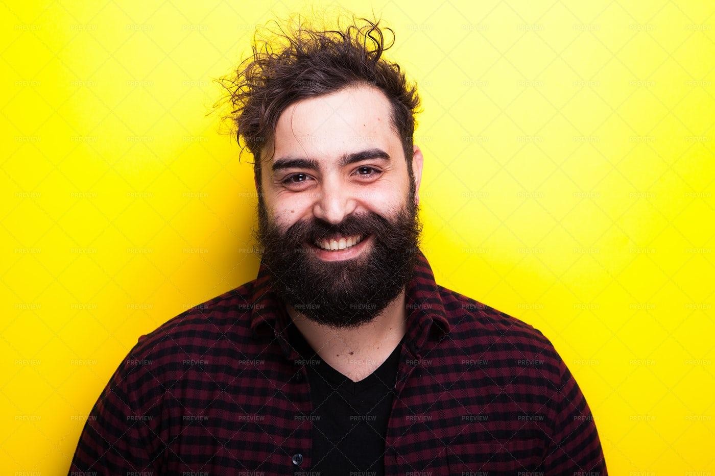 Portrait Of Smiling Bearded Man: Stock Photos