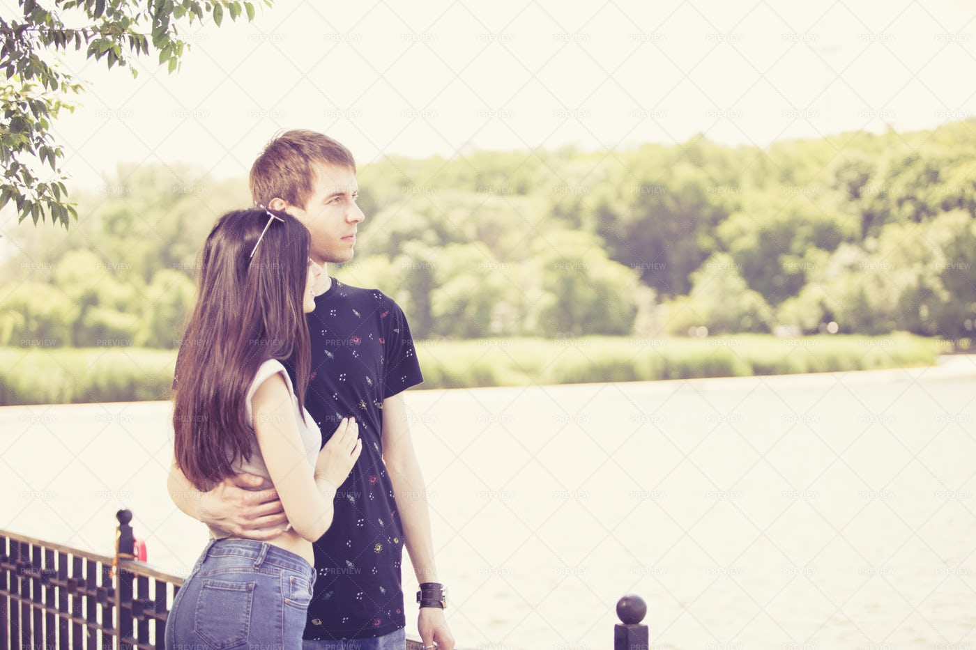 Happy Couple Taking A Walk In The Park: Stock Photos
