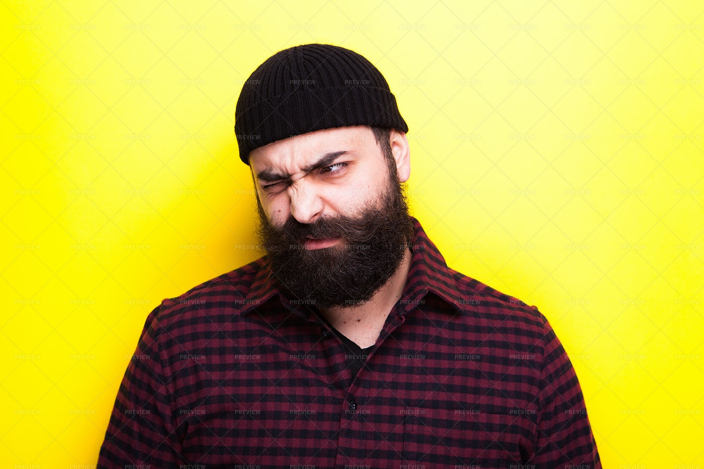 Bearded Man Making Silly Faces: Stock Photos