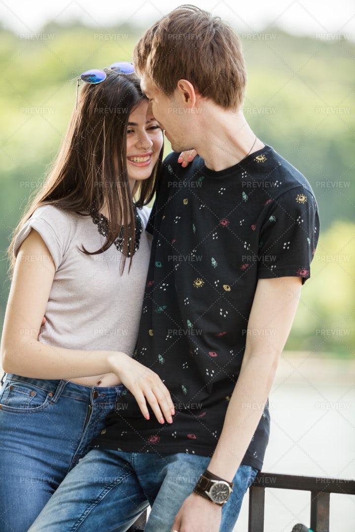 Affectionate Teen Couple: Stock Photos