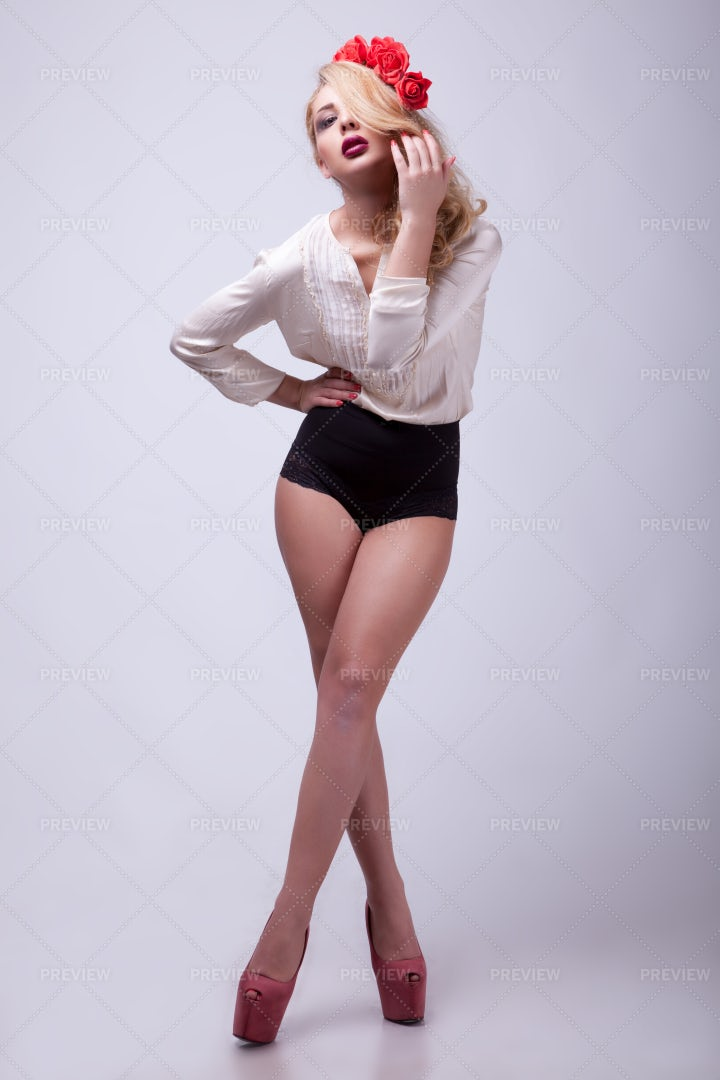 Blonde In Sexy Outfit: Stock Photos