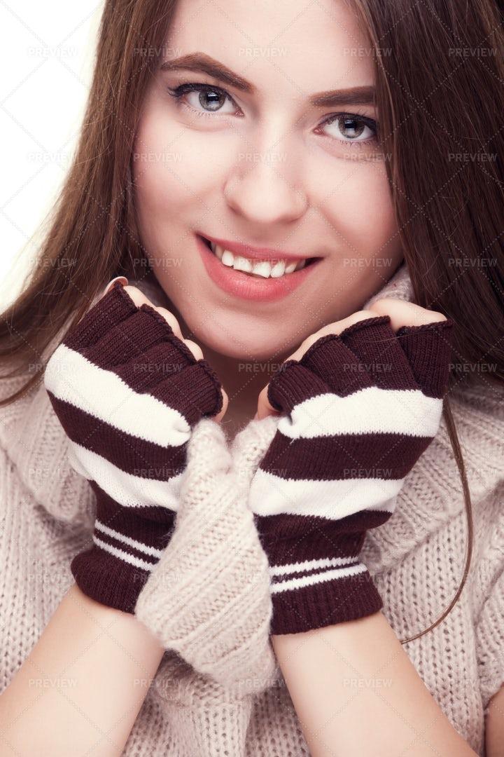 Girl With Fingereless Gloves: Stock Photos