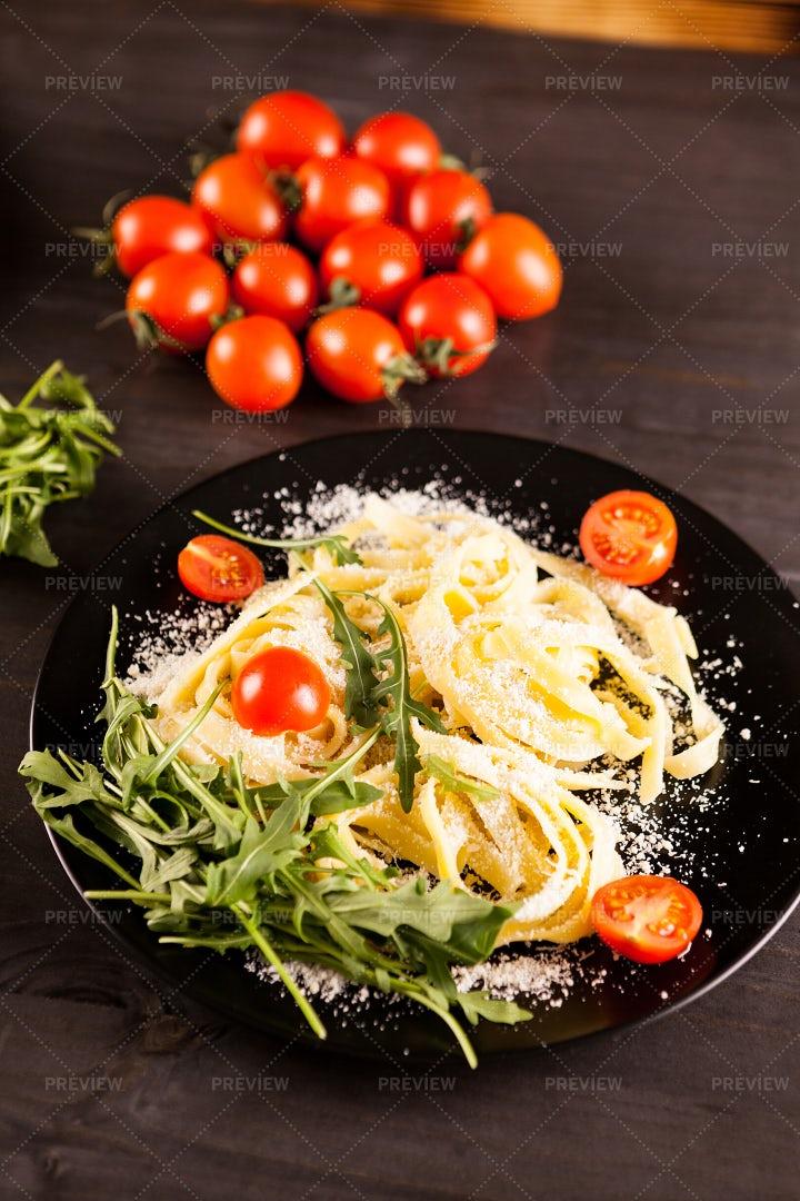 Pasta With Cherry Tomatoes: Stock Photos