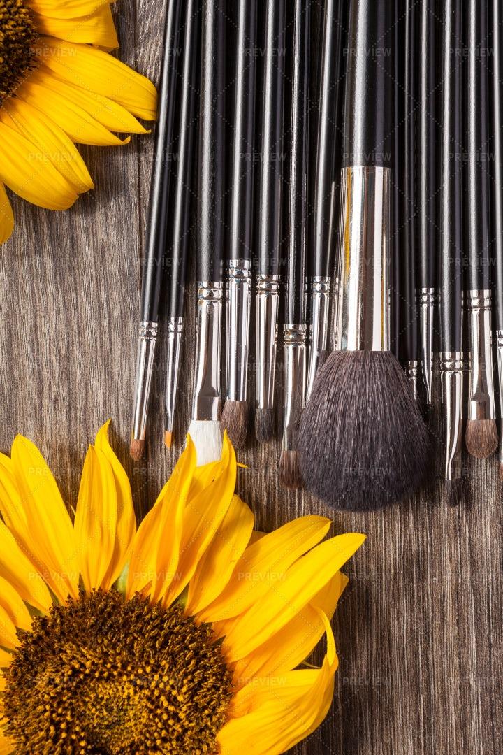 Professional Make Up Brushes Next To: Stock Photos
