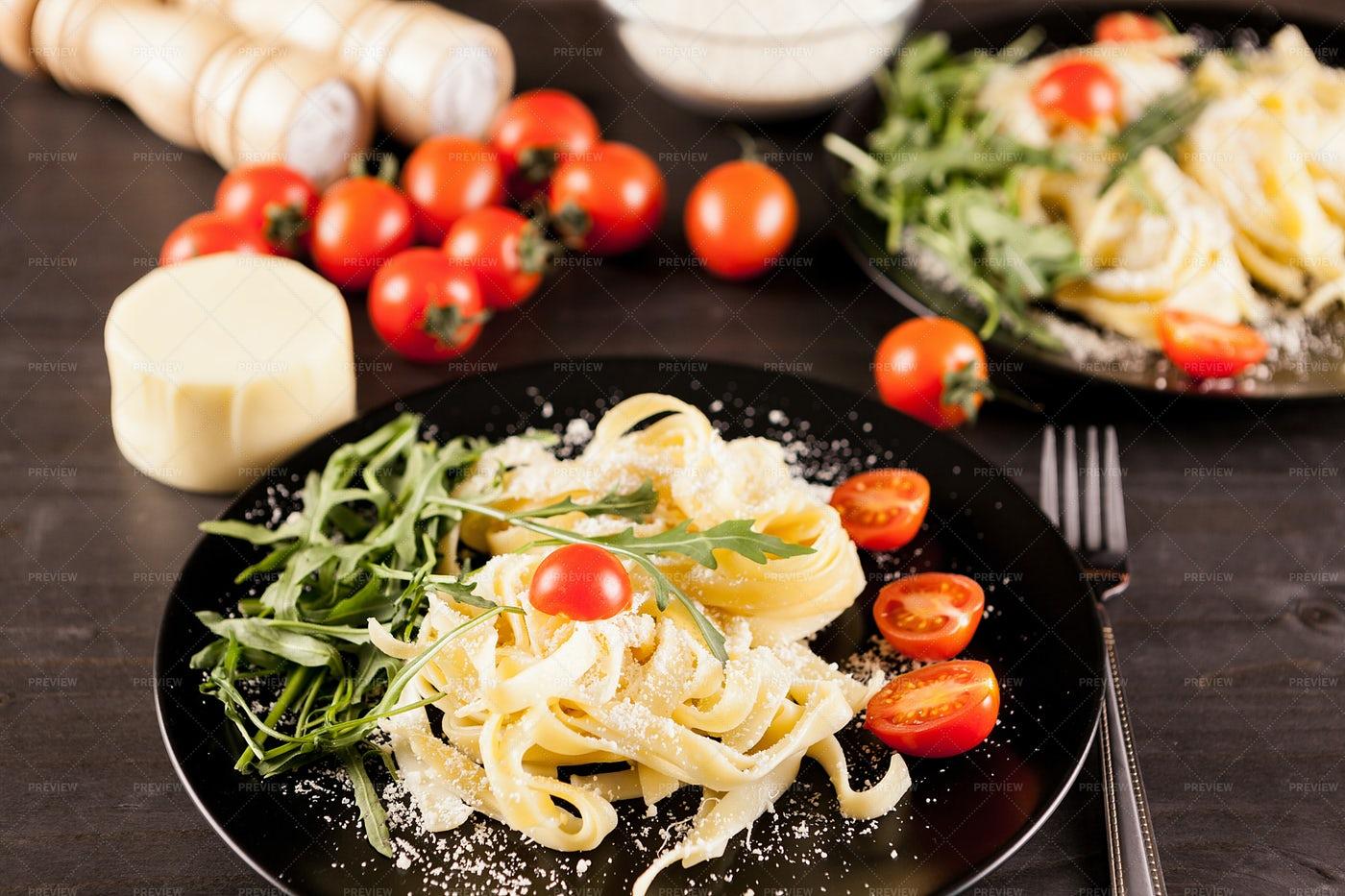 Plate Of Parmesan Tagliatelle Pasta: Stock Photos