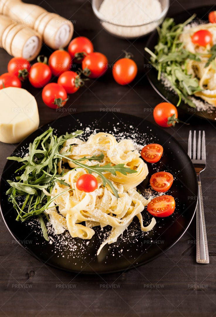 Parmesan Pasta With Tomatoes: Stock Photos