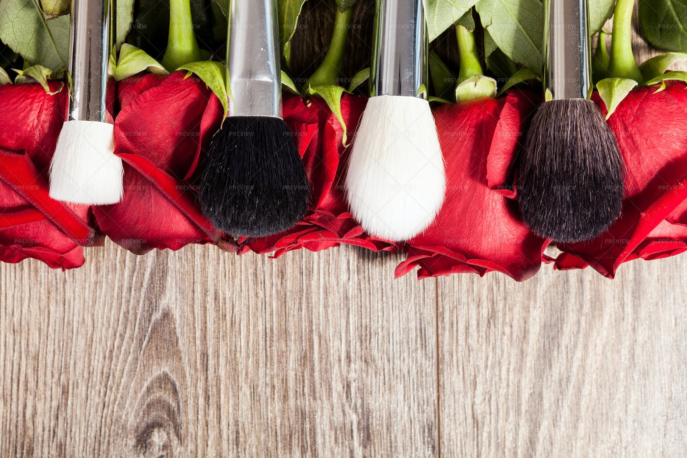 Make-up Brushes Over Roses: Stock Photos