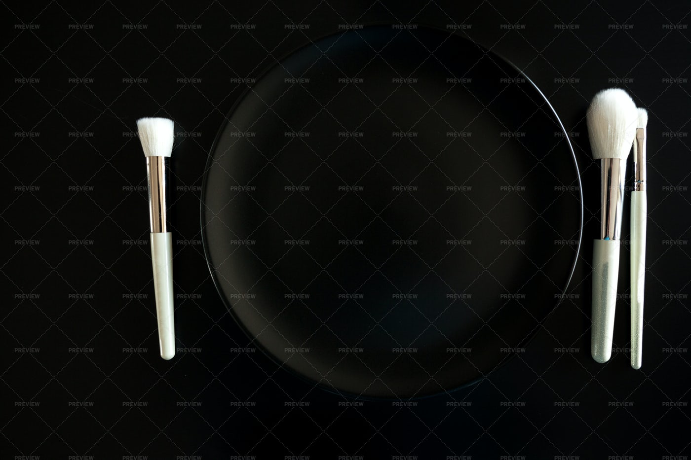 Make Up Brushes As Cutlery: Stock Photos