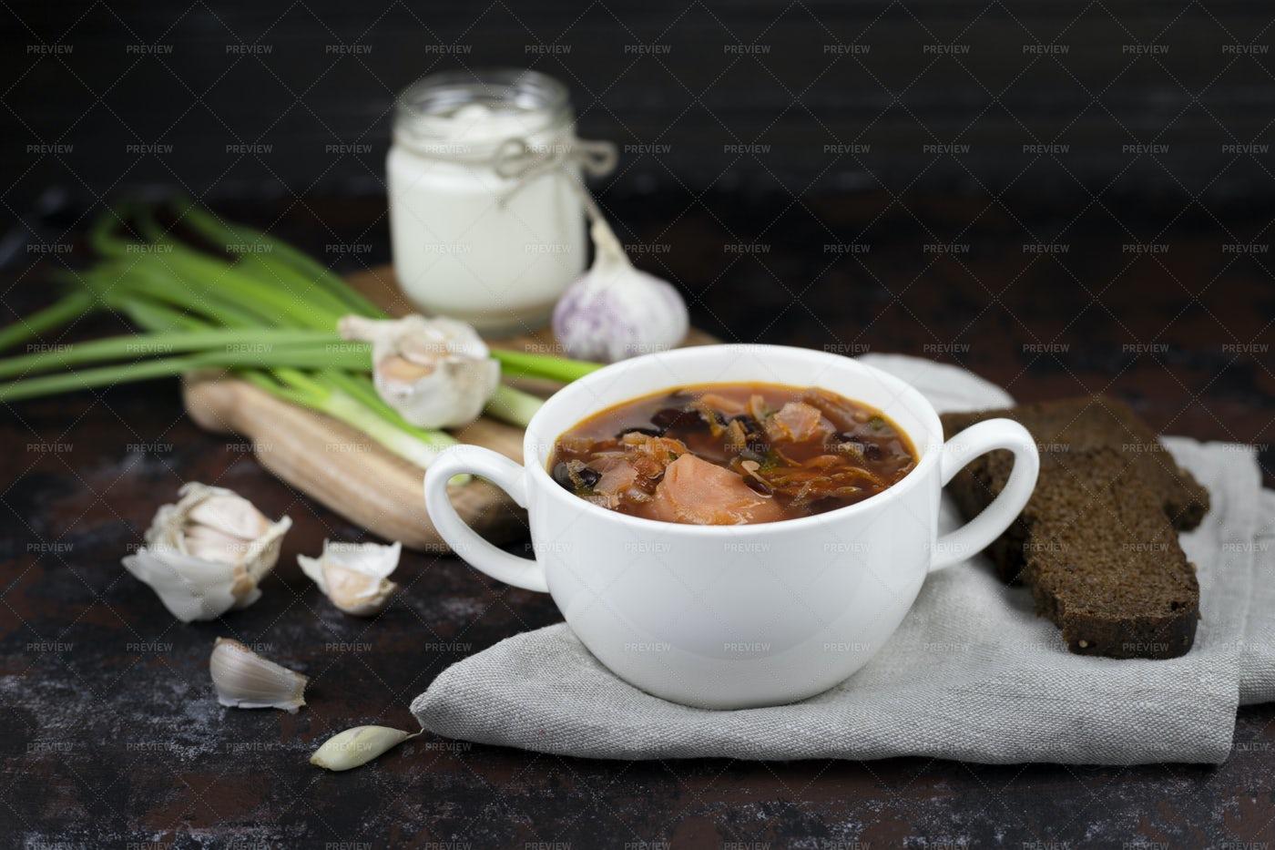 Soup Mug Of Borscht: Stock Photos