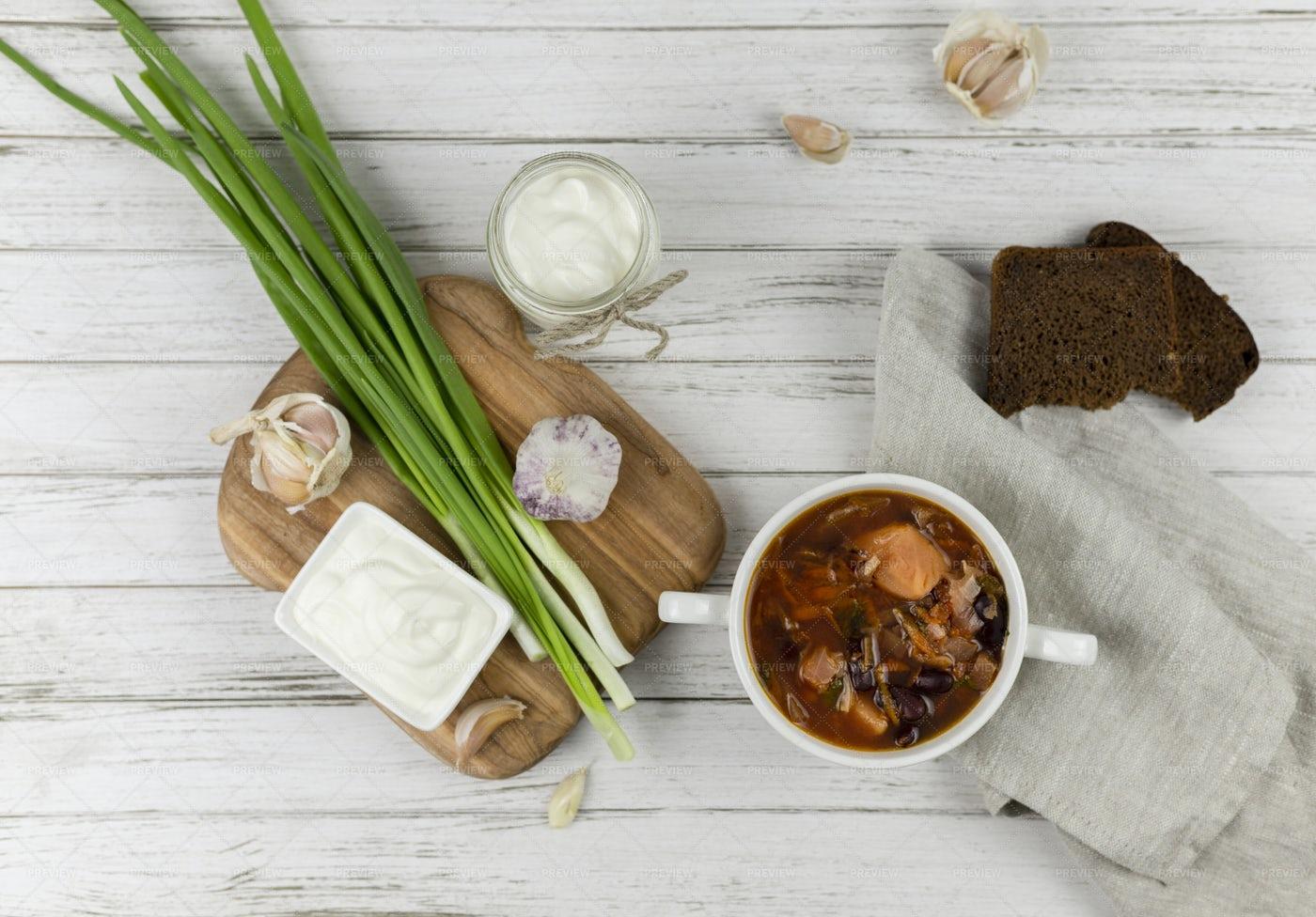 Traditional Red Borscht Soup: Stock Photos