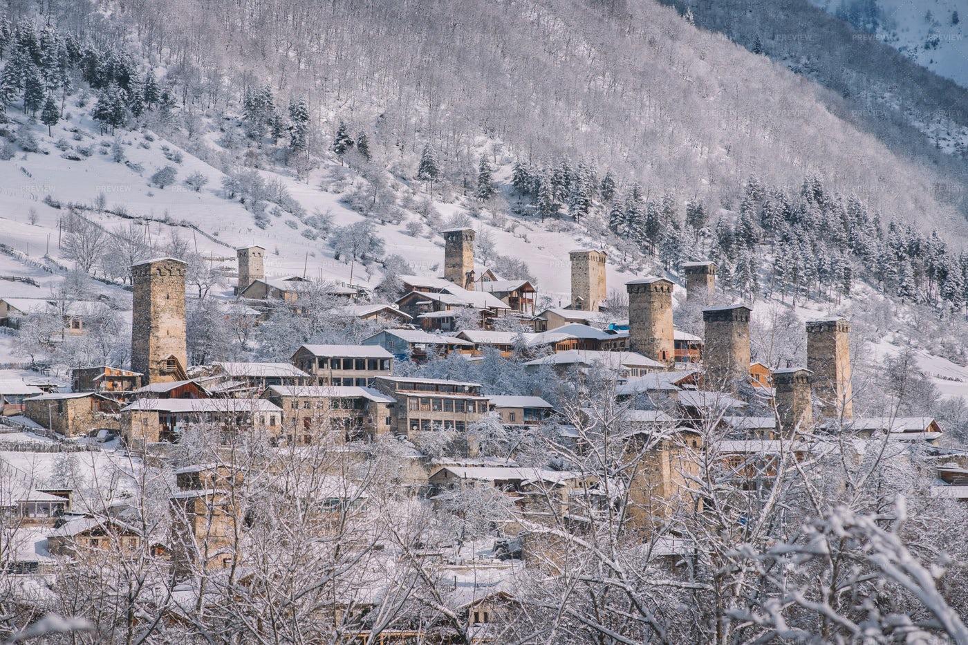 Old Frozen Mountain Village: Stock Photos