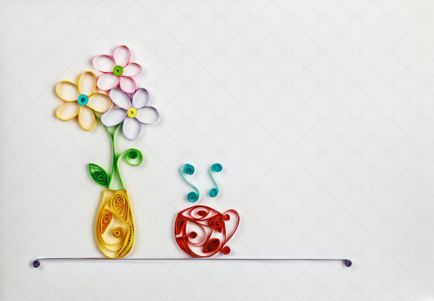 Flowers In Quilling Technique: Stock Photos