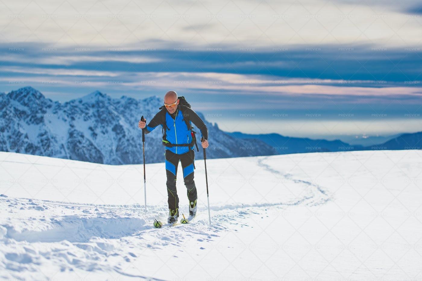 Skier On The Alps Plateau: Stock Photos