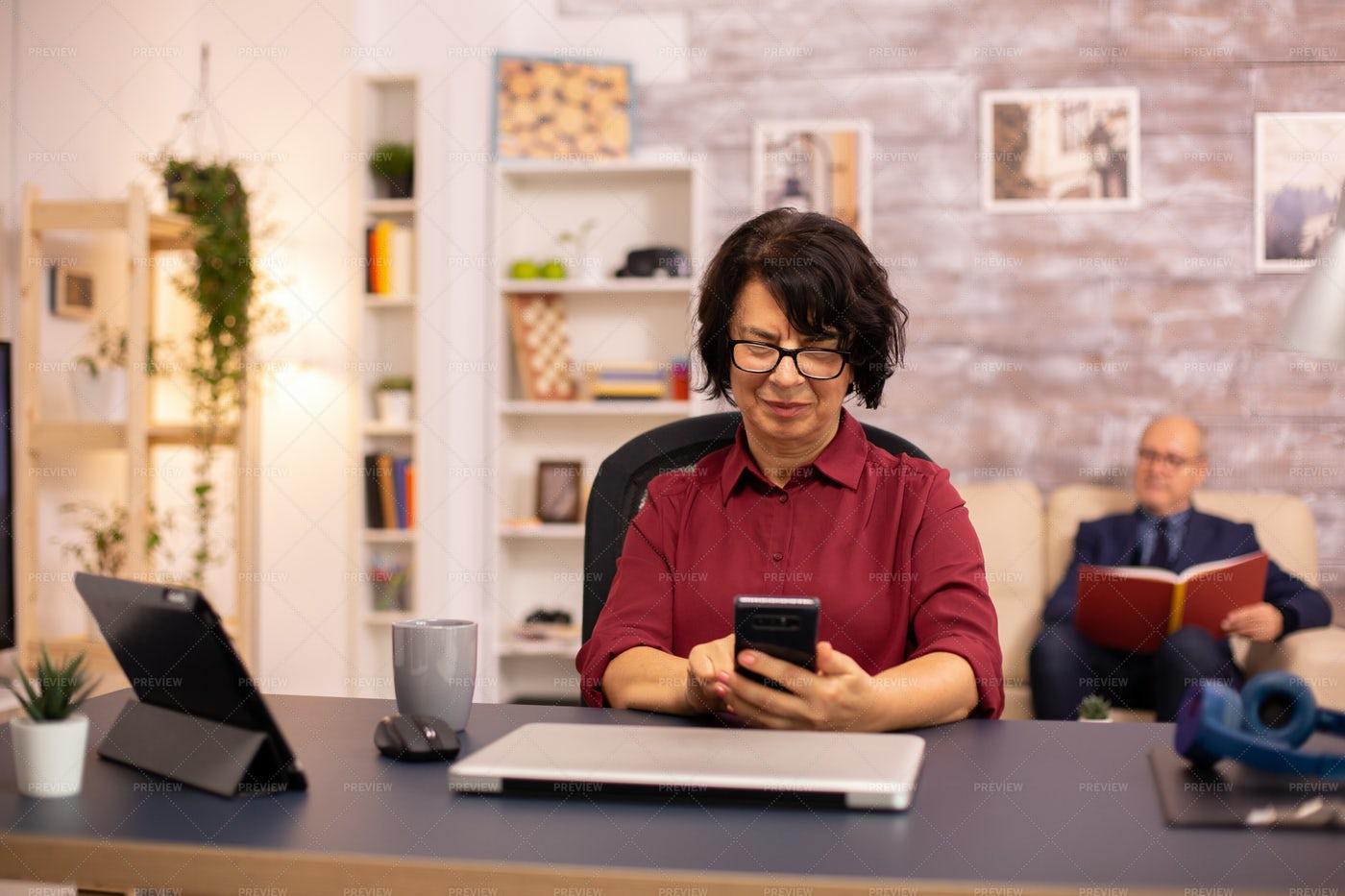 Senior Woman Using Smartphone: Stock Photos