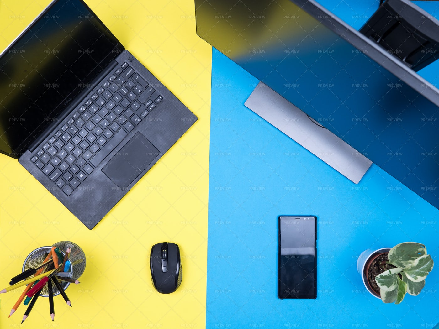 Flat Lay Top View Of Workspace: Stock Photos