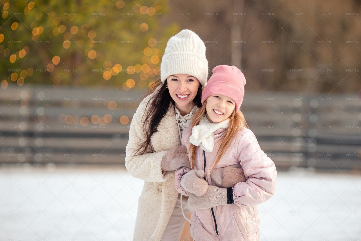 Hugging On Ice Rink: Stock Photos